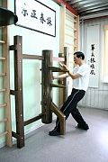 Sam Kwok doing Muk Jang Jong, the wing chun dummy form