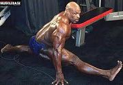 Eight times Mr Olympia winner, Ronnie Coleman showing flexibility