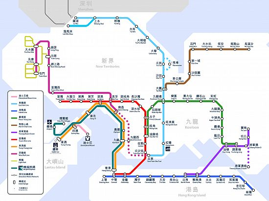 Map of the Hong Kong Rail system or MTR